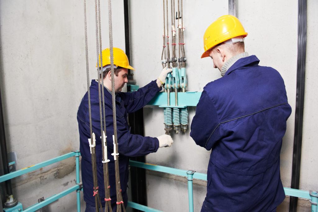 Elevator maintenance being preformed